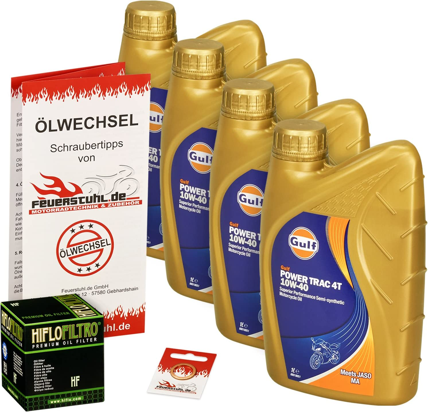 Gulf 10w 40 Öl Hiflo Ölfilter Für Honda Cbr 1000 F 87 0 Sc21 Sc24 Ölwechselset Inkl Motoröl Filter Dichtring Auto