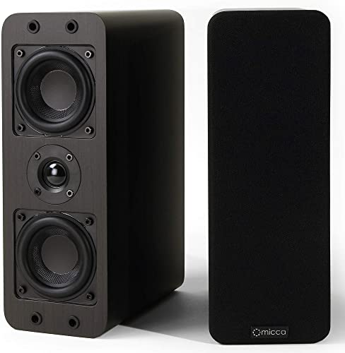 Micca OoO Bookshelf Speakers with 3-Inch Woofers and Silk Tweeter Dark Walnut, Pair