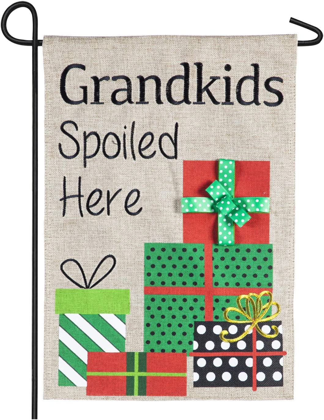 Evergreen Flag Grandkids Spoiled Here Holiday Outdoor Burlap Garden Flag, 12.5 x 18 inches