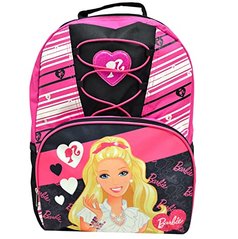 Amazon.com  Barbie Deluxe Lace Girls Pink   Black School Backpack 16 ... 04490ec413703