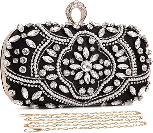 Women Beaded Clutch Bag Rhinestone Crystal Purse Glitter Evening Handbag for Wedding Cocktail Prom Party