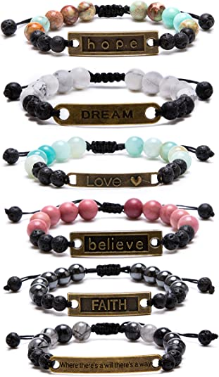 Jeka Inspirational Charm Lava Rock Bracelet for Women Girls Anxiety Aromatherapy Essential Oil Diffuser Natural Stone 8mm Beads Yoga Meditation Energy Mantra Motivational Jewelry RBLC8-YL7