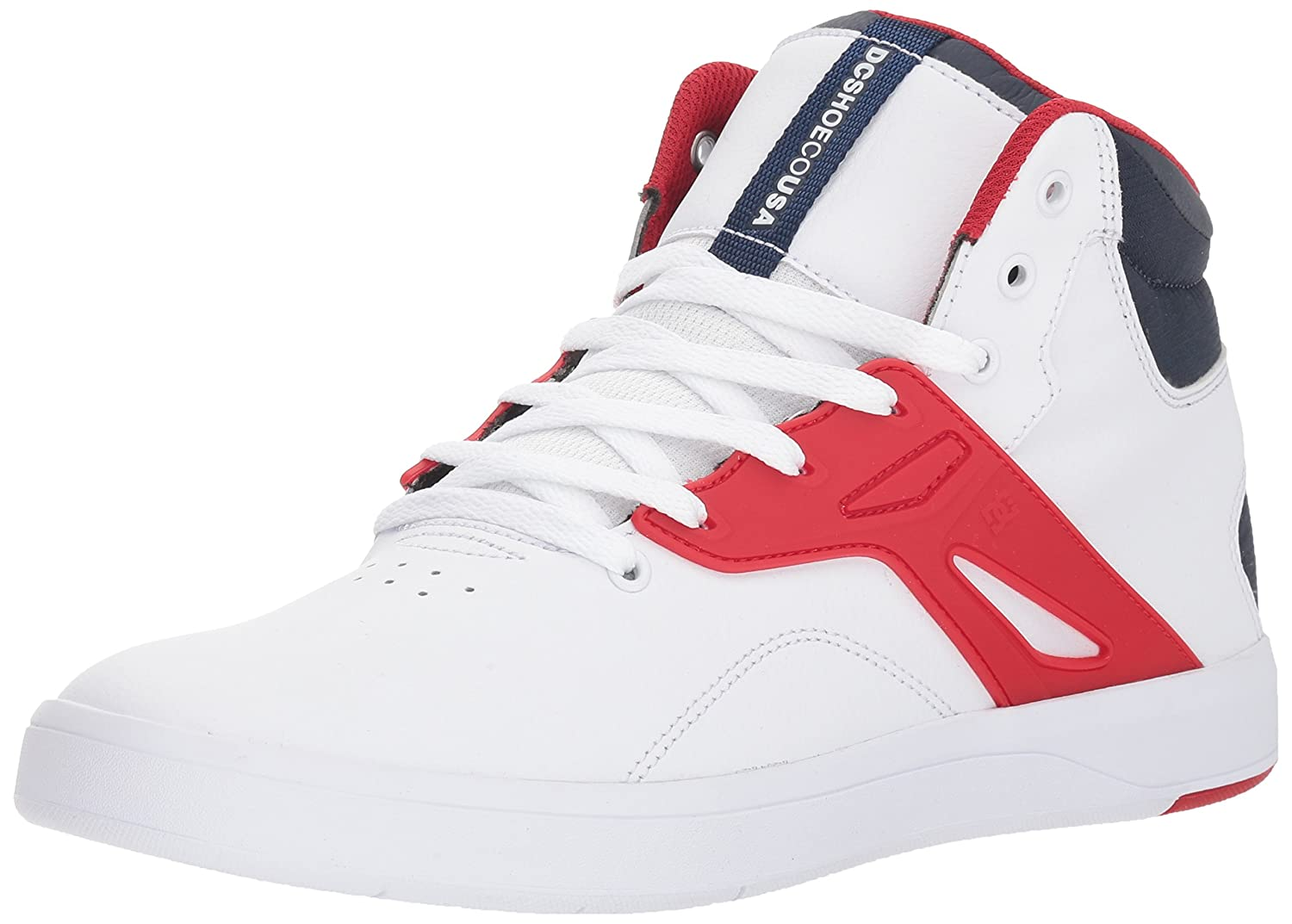 DC Men's Frequency High Skate Shoe 9 M US|White/Navy/Red