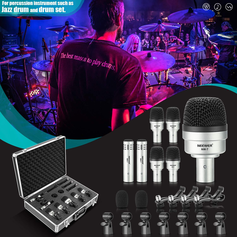 Neewer 7点 有線ダイナミックドラムマイクキット キックベース、トム/スネアとシンバルマイクセット ドラム、ボーカルと他の楽器に対応 スレッドクリップ、インサート、マイクホルダーとケース付き(NW-7) B078YRKLMK