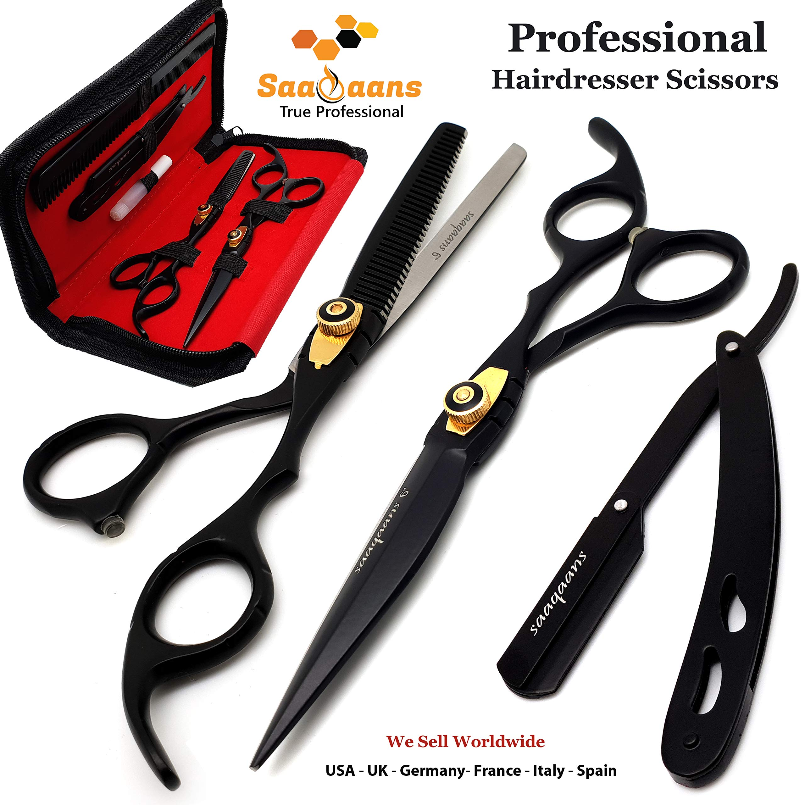 Saaqaans MSS-01 Professional Hairdresser Scissors Set - Package includes Barber Scissor, Thinning Shear, Straight Razor, 10 x Derby Double Edge Blades & Hair Comb in Stylish Scissors Case (USA Black) by Saaqaans