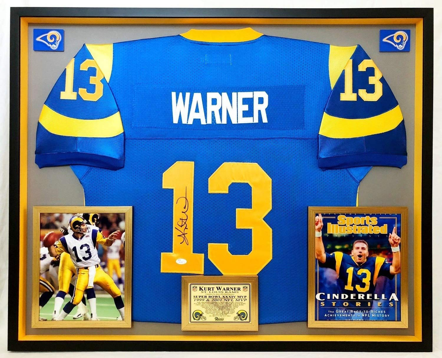 the latest 8ade3 b8ff4 Deluxe Framed Kurt Warner Autographed Signed Official M&N St ...