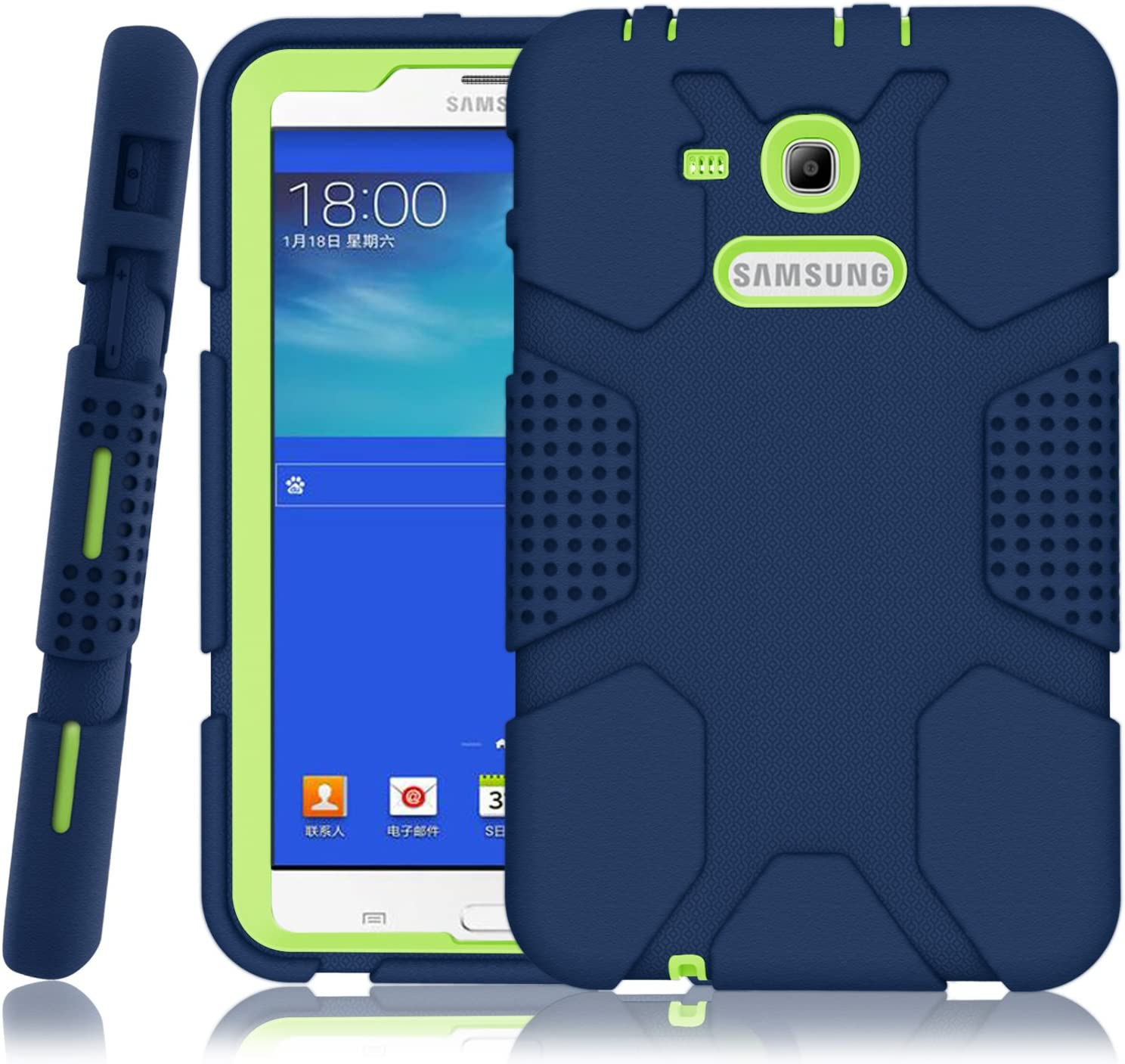 Amazon Com Hocase Galaxy Tab E Lite 7 0 Case Rugged Heavy Duty Kids Proof Protective Case For Galaxy Tab E Lite 7 0 Sm T113ndwaxar Sm T113nykaxar 2016 Navy Blue Lime Green