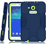 Samsung Galaxy Tab E Lite 7.0 Case, Galaxy Tab 3 Lite 7.0 Case, Hocase Rugged Heavy Duty Kids Proof Protective Case for SM-T110 / SM-T111 / SM-T113 / SM-T116 - Navy Blue / Fluorescent Green