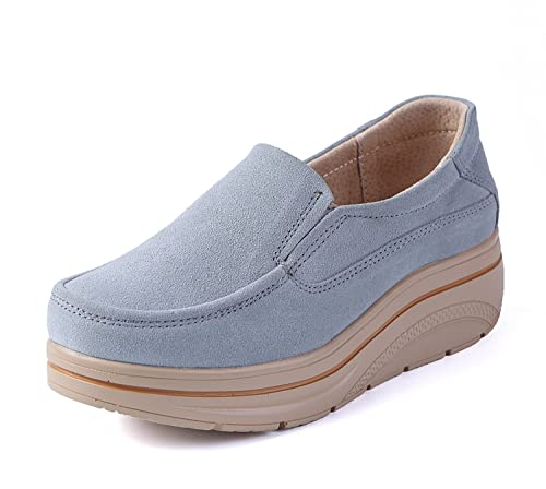 LILY999 Mujer Mocasines Plataforma Casual Loafers Cómodo y Antideslizante Zapatos de Cuña: Amazon.es: Zapatos y complementos