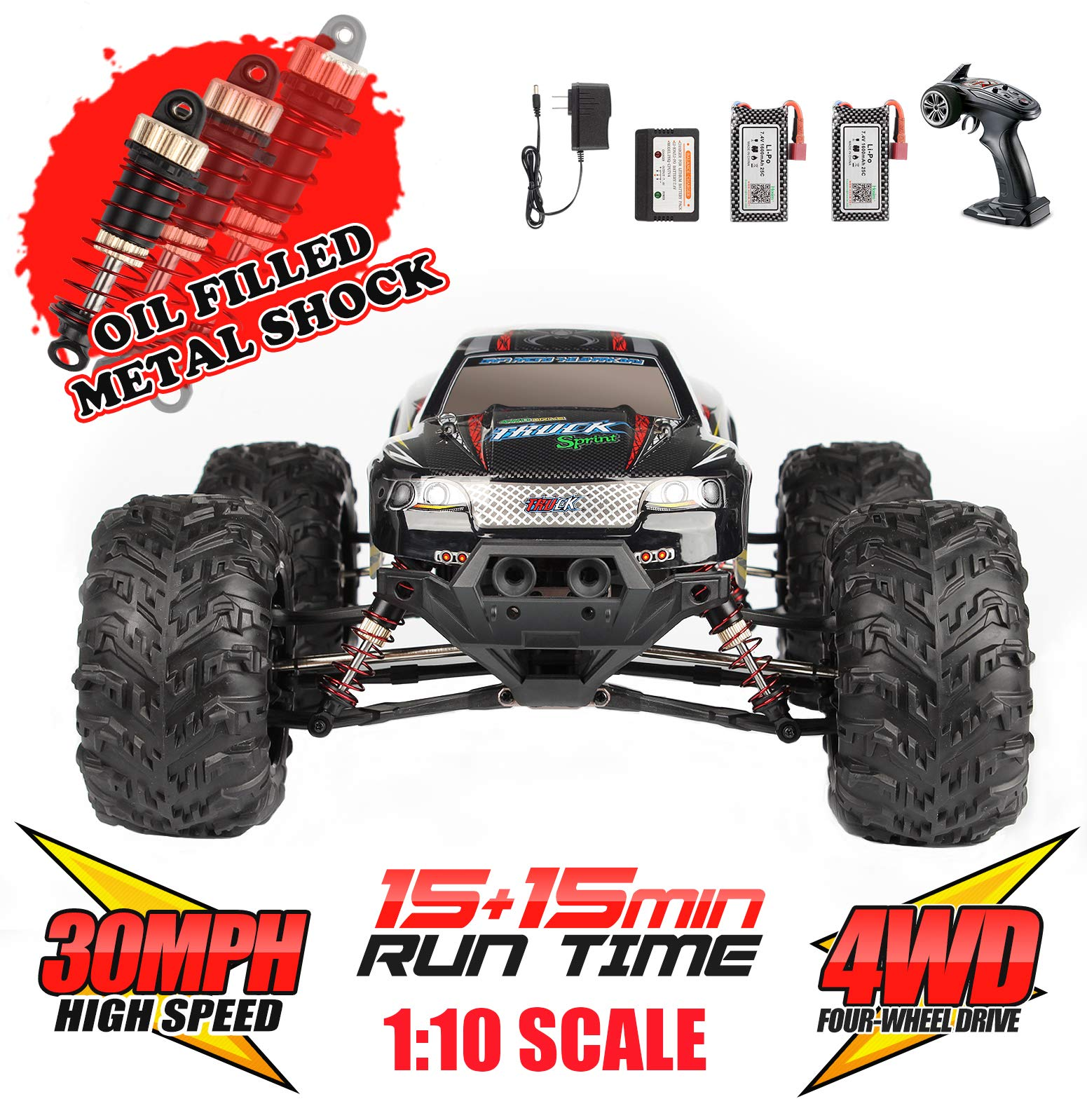 Hosim Large Size 1:10 Scale High Speed 30MPH 4WD 2.4Ghz Remote Control Truck Upgraded 9125 Radio Controlled Off-Road Electronic Monster Truck R/C RTR Hobby RC Car | 2 Batteries | 6 Oil Filled Shocks|
