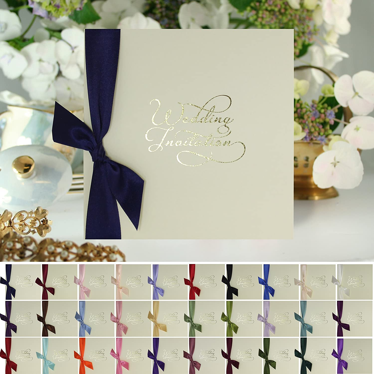 10 x Gold Script Personalised Wedding Invitations - Includes Envelopes +  FREE Draft and Choice of Ribbon Colour