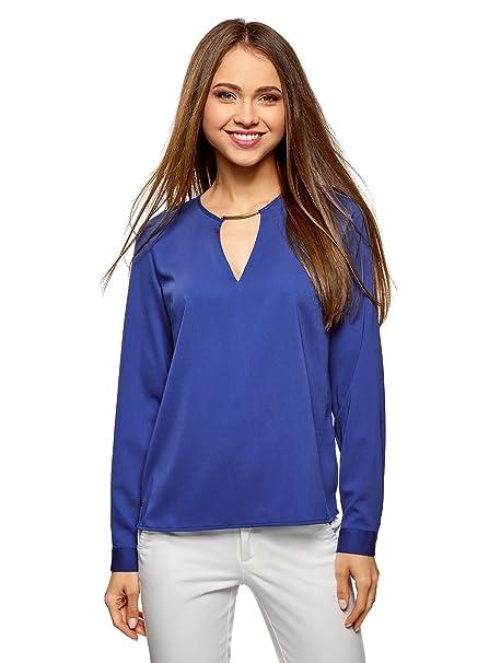 oodji Collection Mujer Blusa con Escote Gota y Decoración Metálica, Azul, ES 36 /
