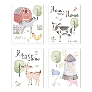 Sweet Jojo Designs Farm Animals Wall Art Prints Room Decor for Baby, Nursery, and Kids - Set of 4 - Watercolor Farmhouse Horse Cow Sheep Pig Home Sweet Home