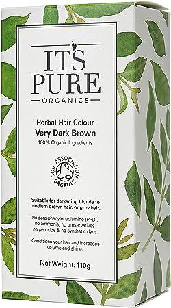 Its Pure Organics - Tinte orgánico para cabello, color marrón oscuro