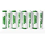 Ppower 8 packs of 14500 ICR 750mAh 3.7V AA Rechargeable Li-ion Battery with 4X FREE Battery Case P-power CE Certificated