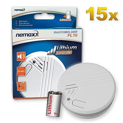 15x Nemaxx FL10 Detector de Humo con batería de Litio de 10 años, Alarma de