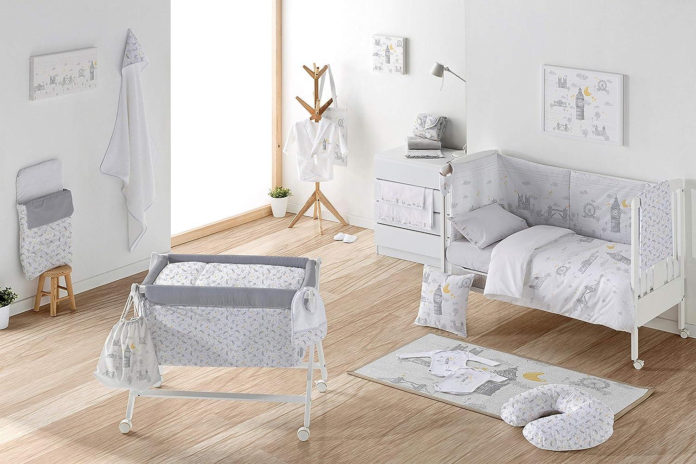 Tama/ño Maxicuna 70 x 140 cm Fabricada en Espa/ña Estampado Digital Calidad Dise/ño Infantil Inglaterra Color Beige Funda Almohada 100/% Algodon Eiffel Baby Funda Nordica Cuna Bebe