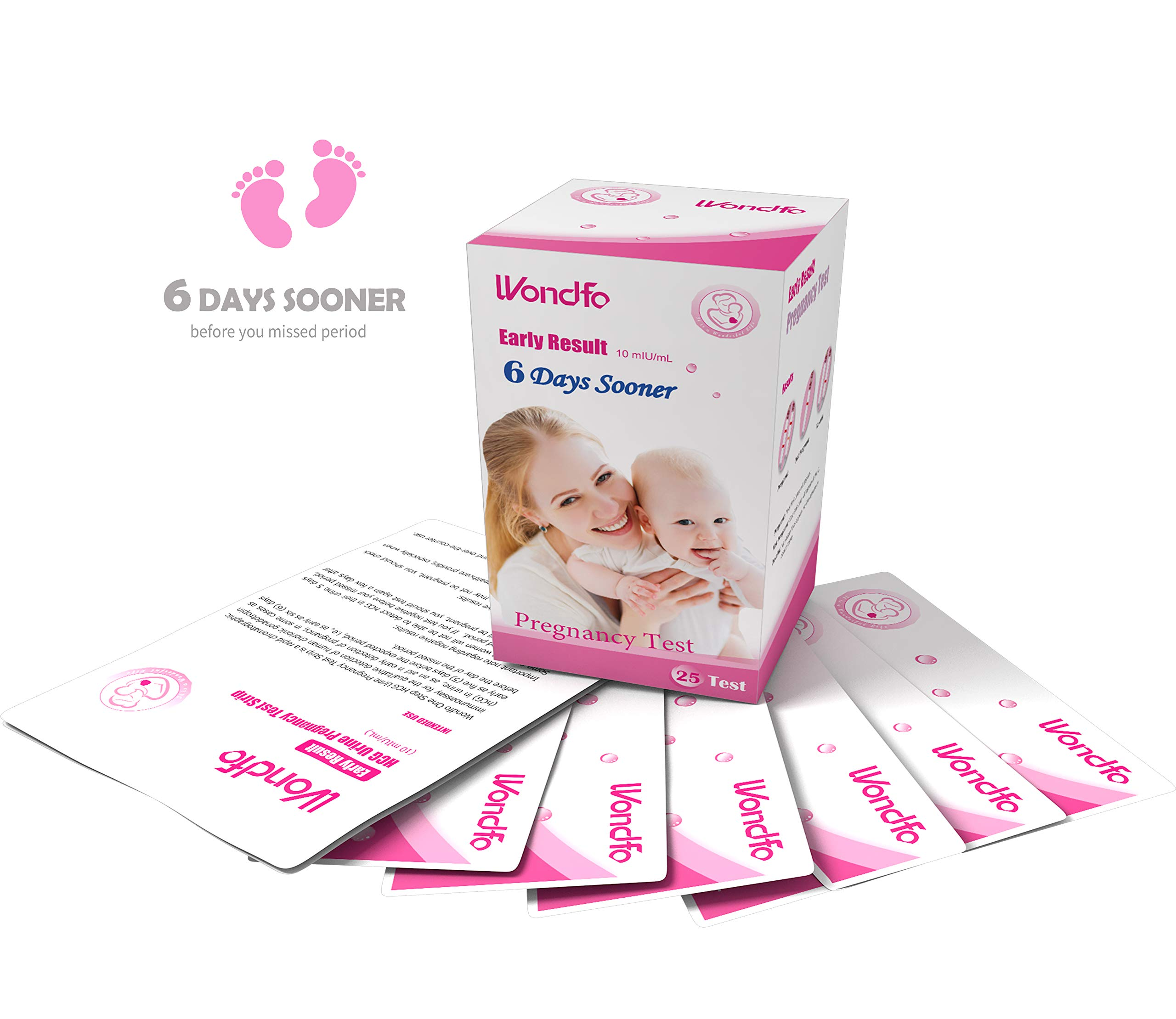 Wondfo 25Pack (10mIU) Early Result Pregnancy HCG Urine Test Strips. 25 HCG Tests 10mIU by Wondfo