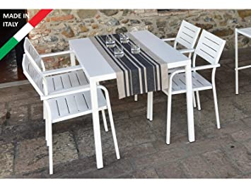 Rd Italia Juego Mesa 120 X 80 Con 4 Sillas Metal Blanco De Exterior