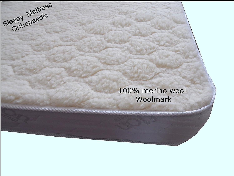 SleepyMattress Gold-Wool Ortho-Sleepy Lujo de colchones - 100% Lana de Merino, Medium-Firm Comodidad, Dorado, Small Double 4ft x 6ft3-120cm x 190cm: ...