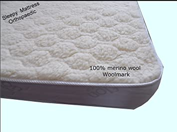 SleepyMattress Gold-Wool Ortho-Sleepy Lujo de colchones - 100% Lana de Merino, Medium-Firm Comodidad, Dorado, Small Double 4ft x 6ft3-120cm x 190cm: ...