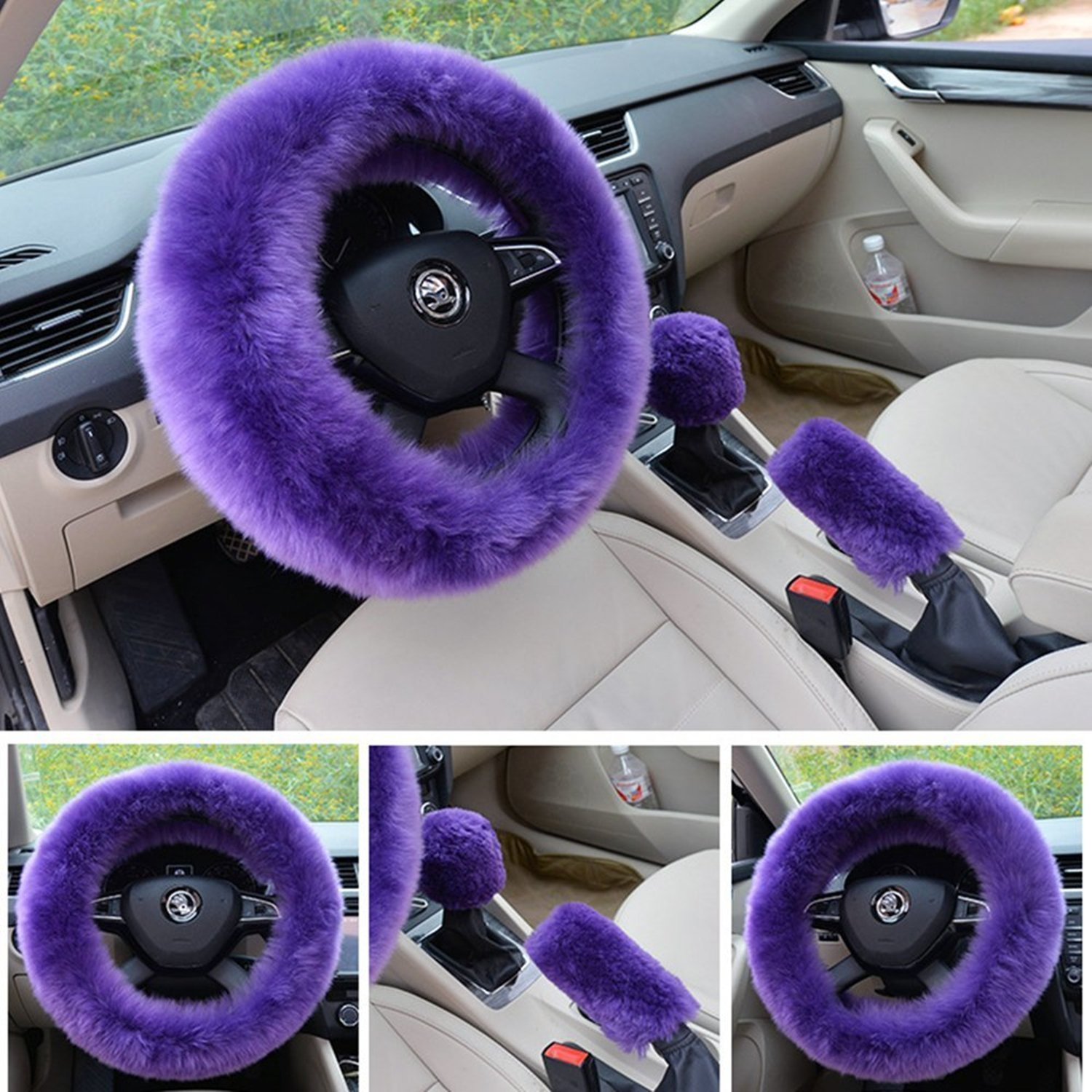 Pink Winter Warm Wool Handbrake Cover Gear Shift Cover Steering Wheel Cover 38cm diameter 1 Set 3 Pcs