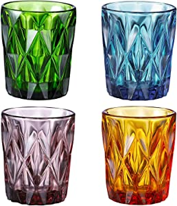Colored Drinking Glasses Set of 4,Water Glasses Multi Color Diamond Pattern,Crystal Glass Drinkware Set 10 Ounce for Whisky,Water,Juice,Beer and Beverage