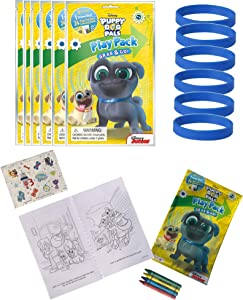 Set of 6 Disney Puppy Dog Pals Party Favors Grab & Go Play Pack Coloring Books Play Fun Birthday Supplies with Crayons Stickers & 6 Bracelets