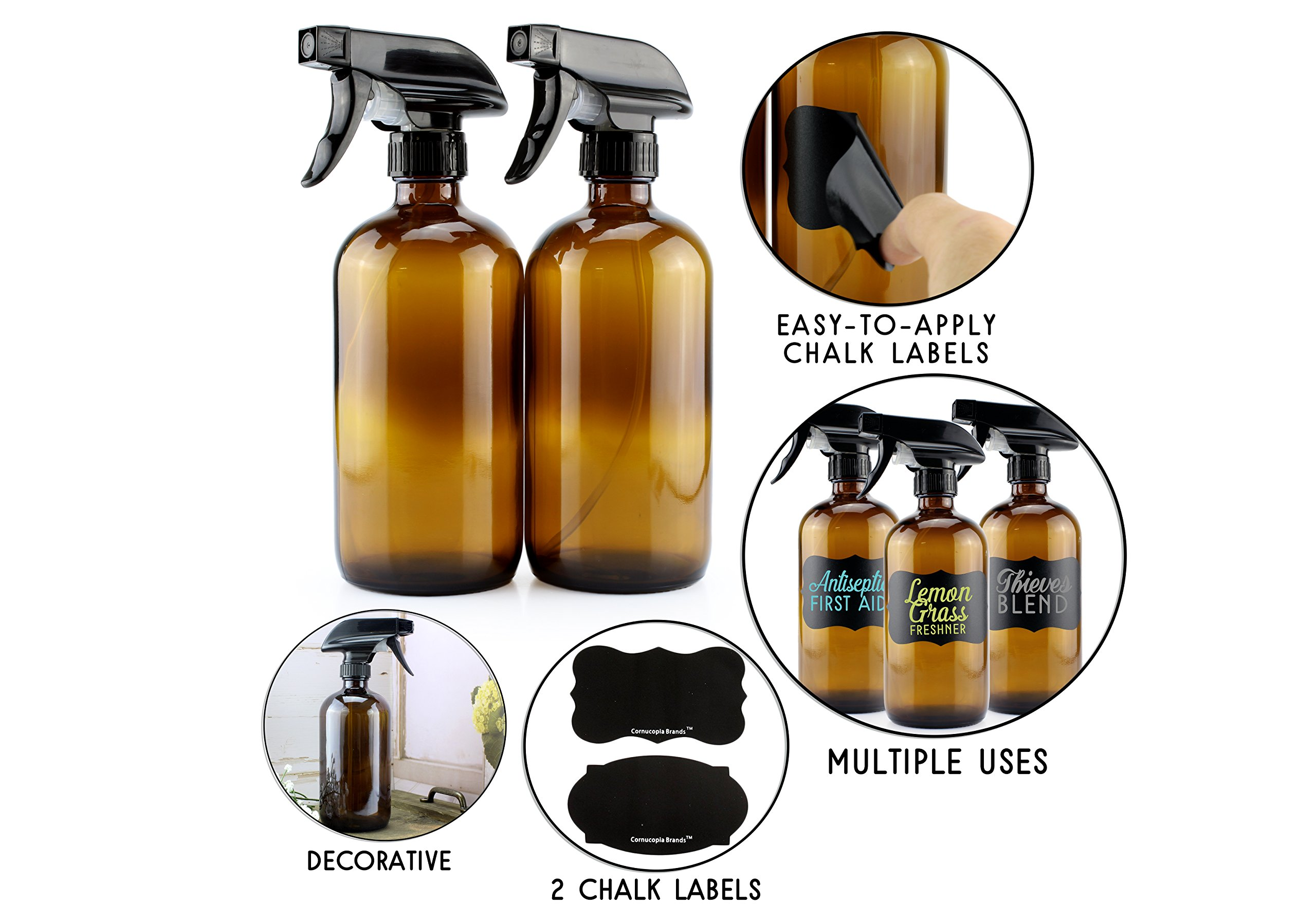 16-Ounce Amber Glass Spray Bottles w/Reusable Chalk Labels (2 Pack), Heavy Duty Mist & Stream 3-Setting Sprayer; Great for Essential Oils by Cornucopia Brands (Image #2)
