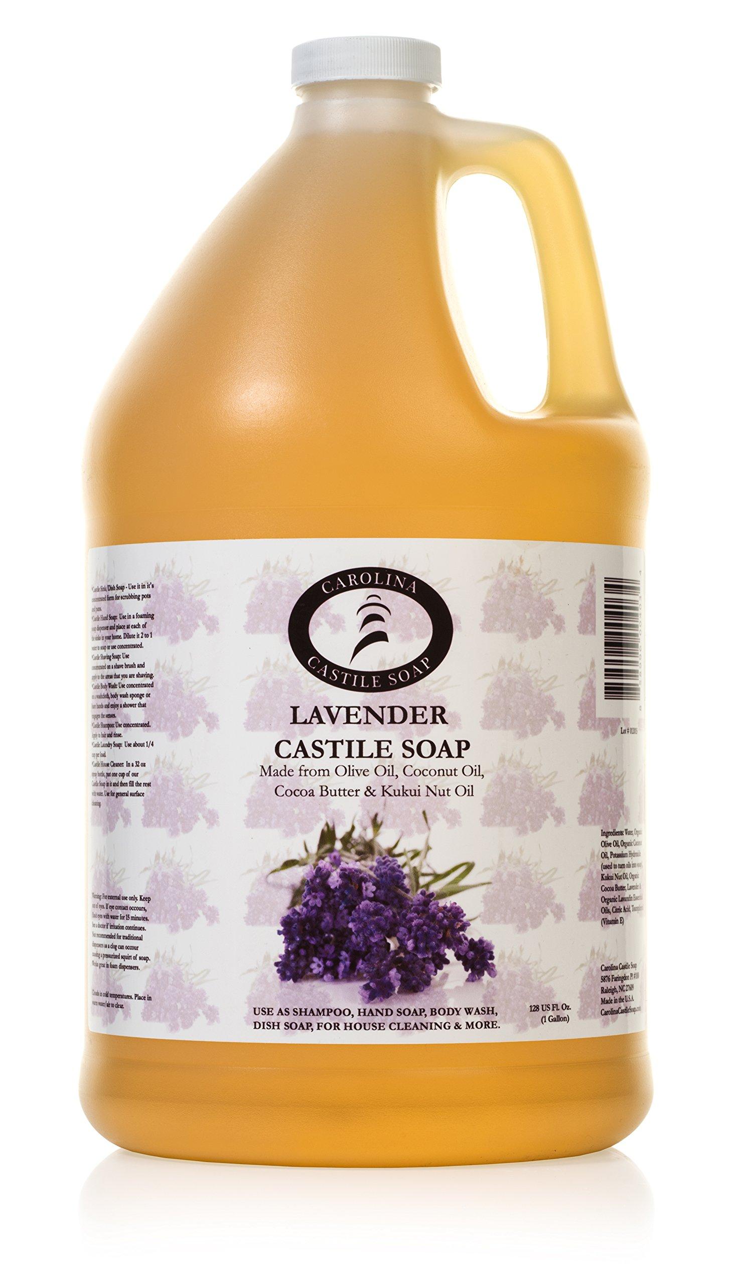Lavender Castile Soap Liquid - 1 Gallon - Organic Lavender Liquid Soap Refill - Pure Castile Liquid Soap - Carolina Castile Soap