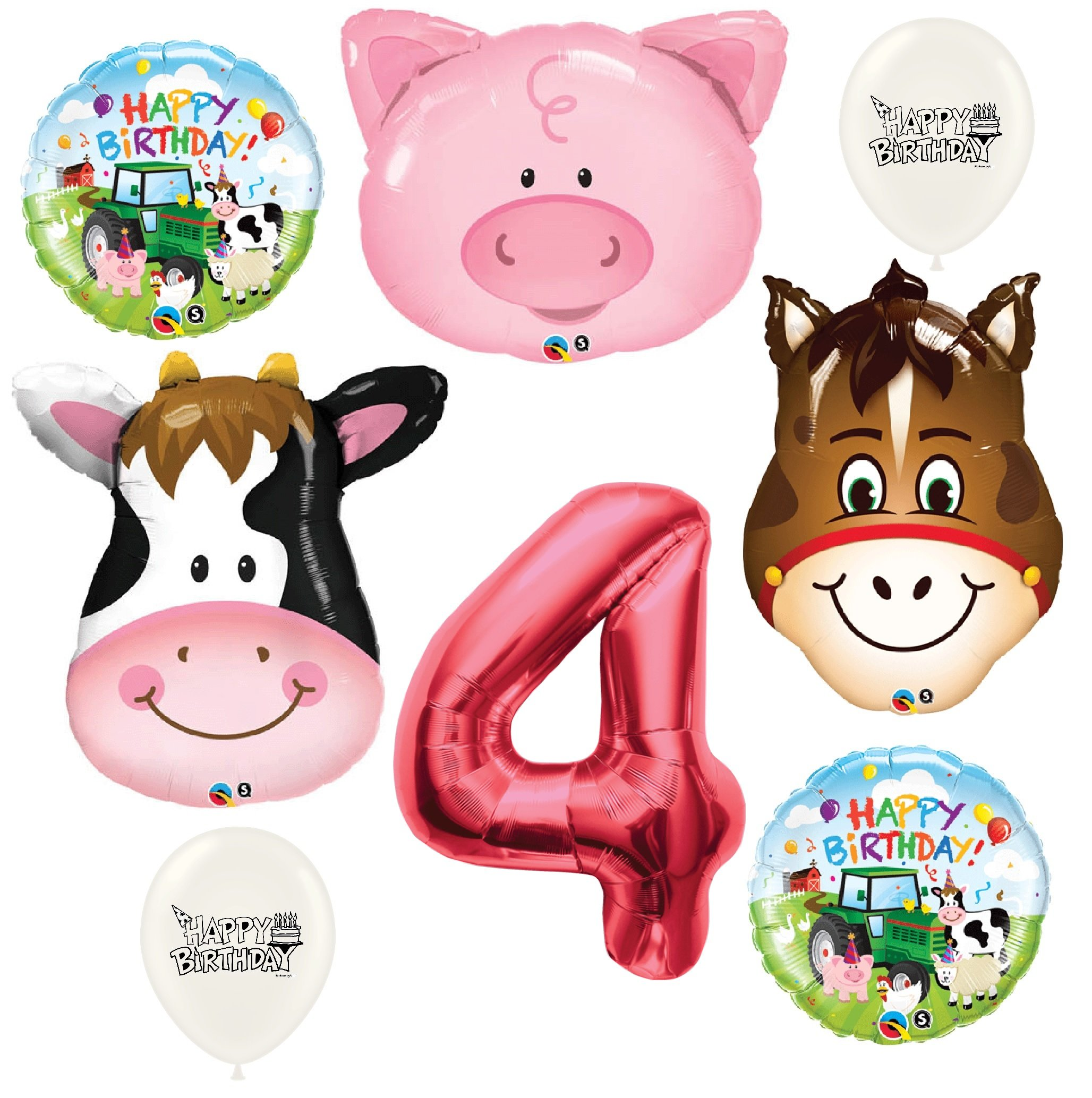 Red Number 4th Birthday Farm Animals Party Decorations Balloon Bouquet Bundle