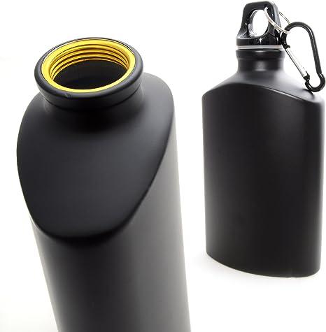 Ganzoo - Botella con mosquetón (aluminio), color negro mate ...