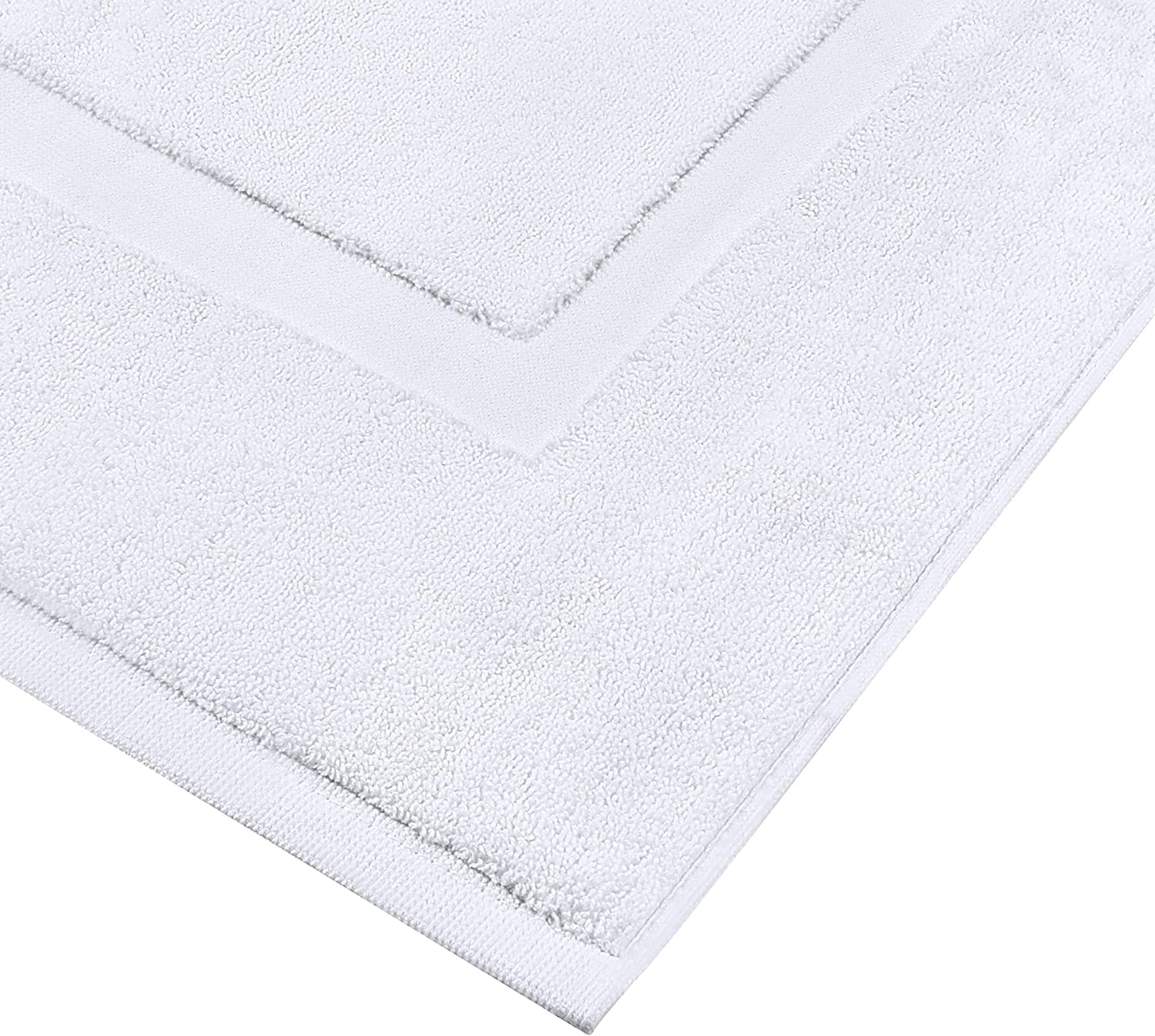 Utopia Towels Cotton Banded Bath Mats, White, [Not a Bathroom Rug], 21 x 34 Inches, 100% Ring Spun Cotton - Highly Absorbent and Machine Washable Shower Bathroom Floor Mat (Pack of 2): Home & Kitchen