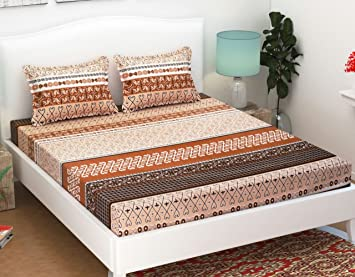 Ab Home Decor Cotton Elastic Fitted bedsheet (Multicolour, King)