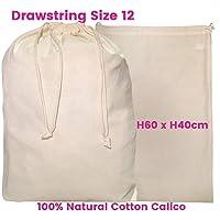 Large Calico Drawstring Bag Ham bag Food Grade S12 Size: W40cm*H60cm 140gsm Quantity Lots of : 1,5,10,15,20,25,30,50,100,200 Bags