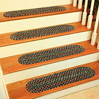 product image for Rhody Rug KA13A008X028-13 Katie Multi Braided Stair Tread44; Navy - Set Of 13