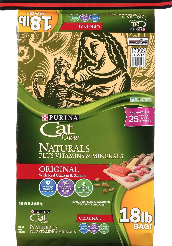 Purina Cat Chow Naturals Original Plus Vitamins & Minerals Cat Food 18 lb. Bag, 178787