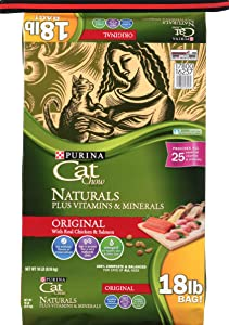 Purina Cat Chow Naturals Original Plus Vitamins & Minerals Cat Food 18 lb. Bag, 178787