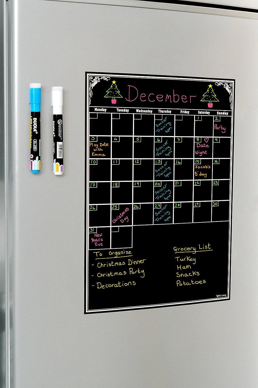 Pizarra de borrado en seco para organizar tu vida y ser más productivo. Reutilizable, planificador flexible en negro, A3. El mejor calendario de ...