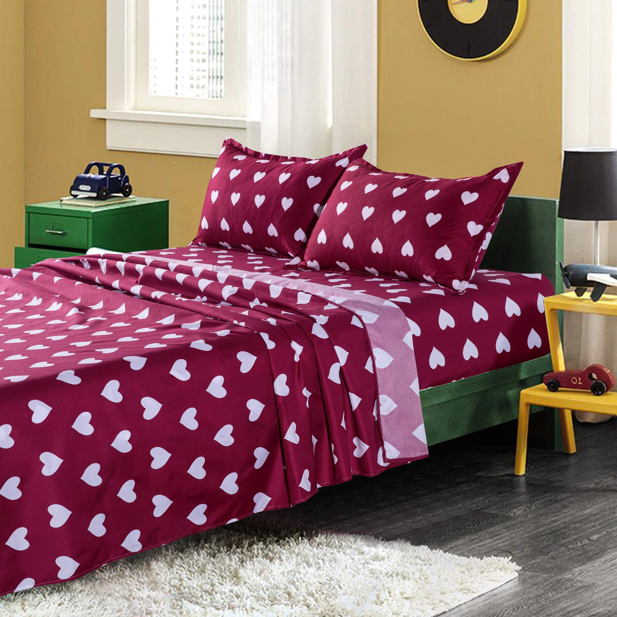 KFZ Twin Bed Sheets Set -Red Color Love Themed Heart Shaped Printed 3Piece Bed Set with 1 Fitted Sheet, 1 Flat Sheet, 1 Pillowcase-Soft Egyptian Quality Brushed Microfiber Bedding Set by KFZ