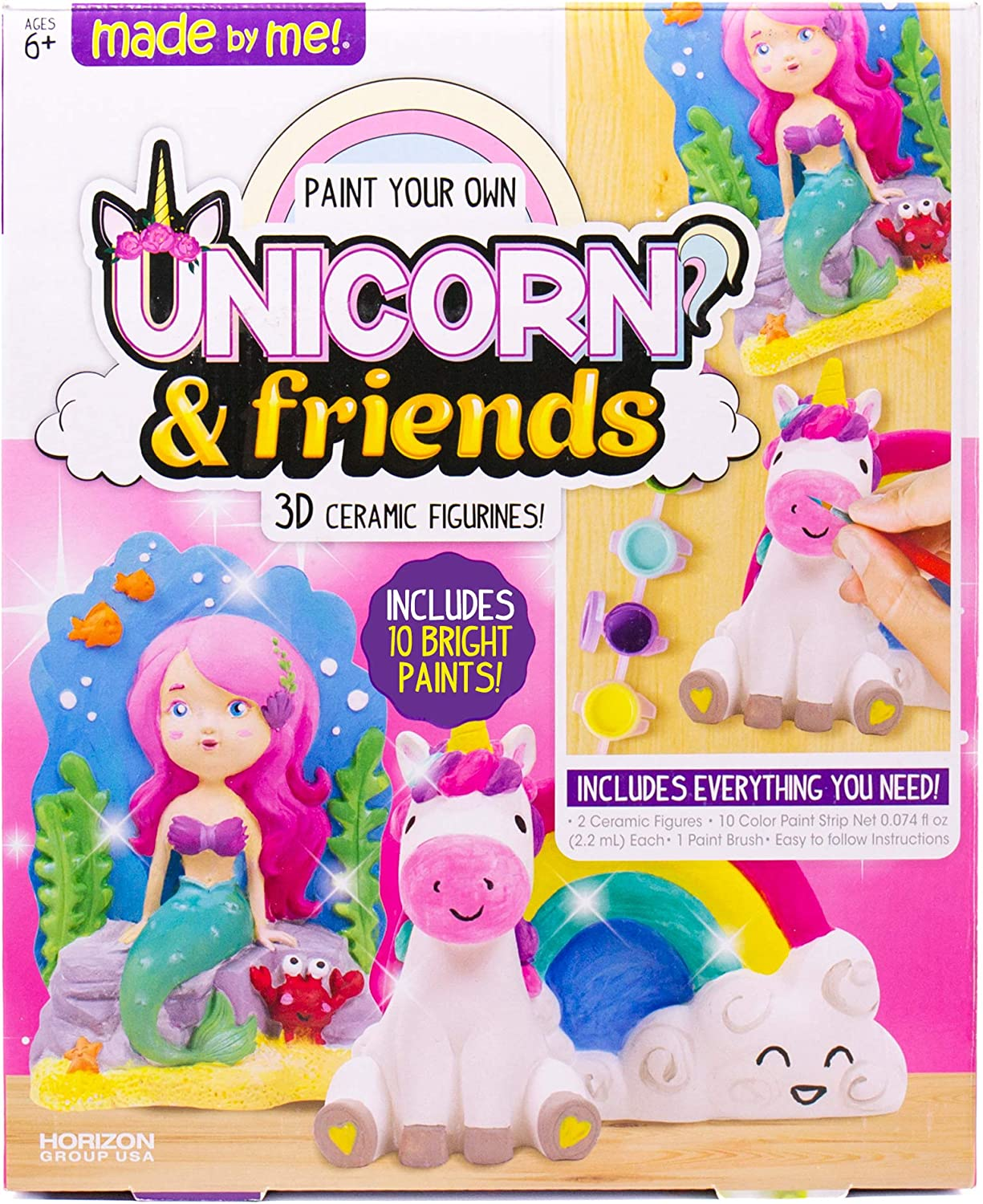 Made By Me Paint Your Own Unicorn Pals, Includes an Easy To Paint Unicorn, Rainbow & More by Horizon Group USA, Multicolored