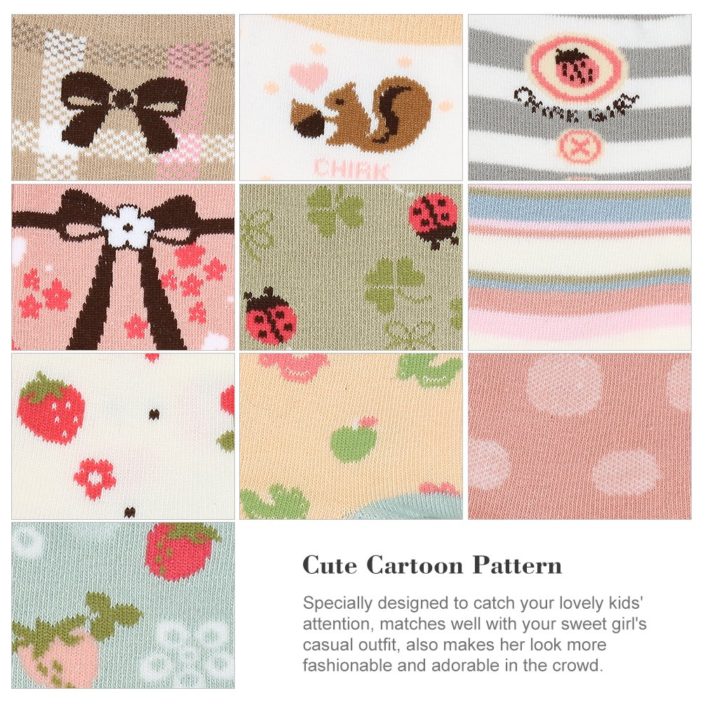 VBG VBIGER Girls Cotton Crew Seamless Socks Cute Novelty for Baby Toddler Kids 10 Pack ¡ by VBG VBIGER (Image #6)