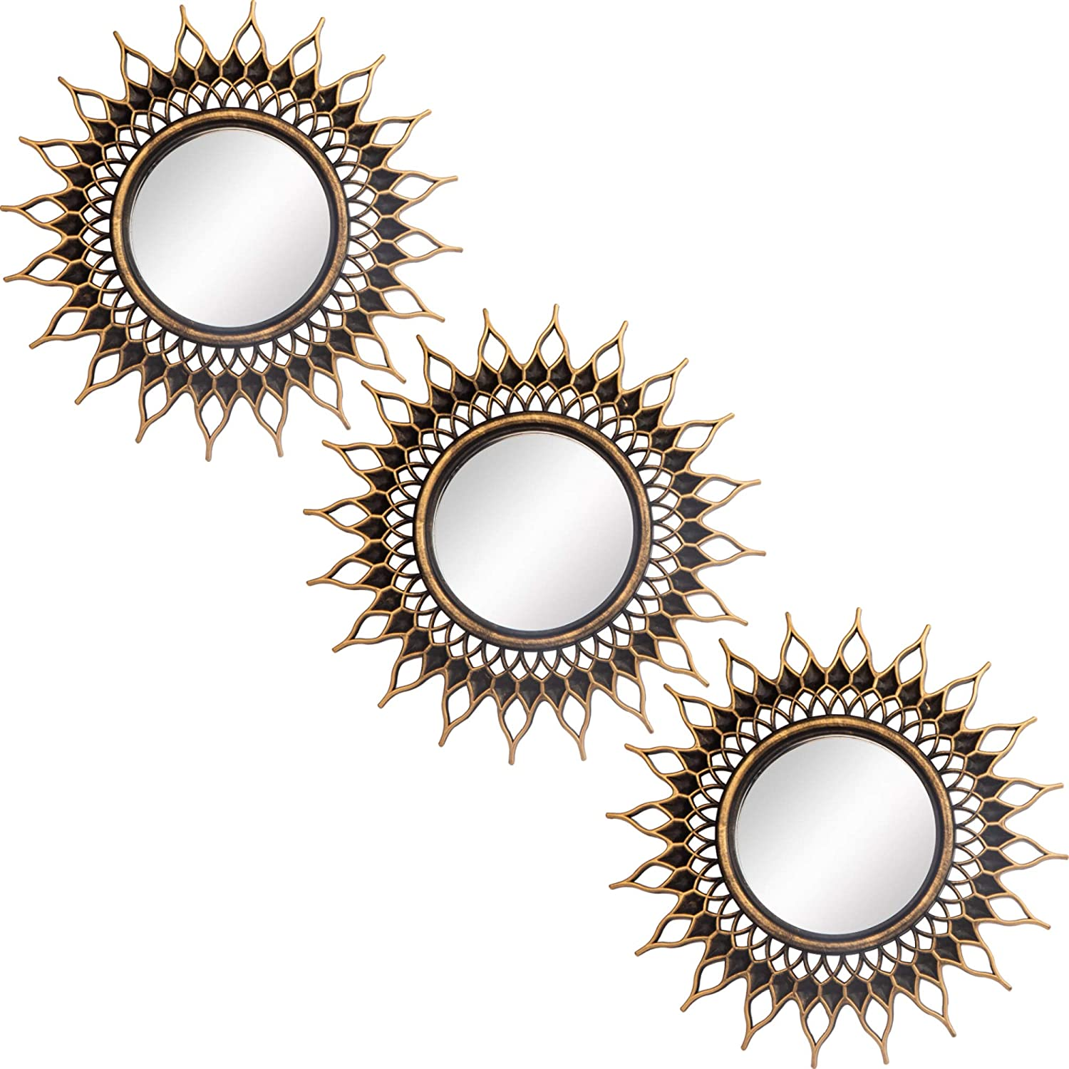 Small Round Decor Wall Mirrors Set of 3 Home Accessories for Bedroom, Living Room & Dinning Room (MS009)