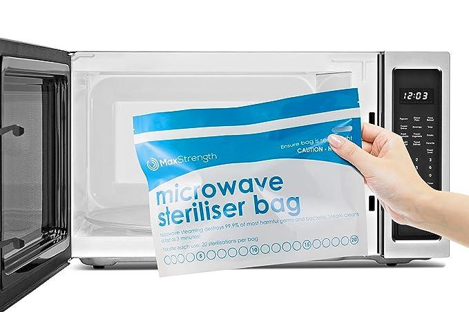 Bolsas de Esterilizador de Microondas Paquete de 10pc Premium de Máxima Fuerza, Bolsas de Vapor Grande y Durable para Biberones, Soother, Teethers y ...