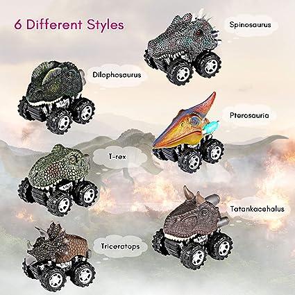 Joylink Coches Dinosaurios,6 Pcs Pull Back Dinosaur Car Toys,Tire hacia Atrás de Los Juguetes de Dinosaurios Regalos Creativos para Niños de 3-14 Años: ...