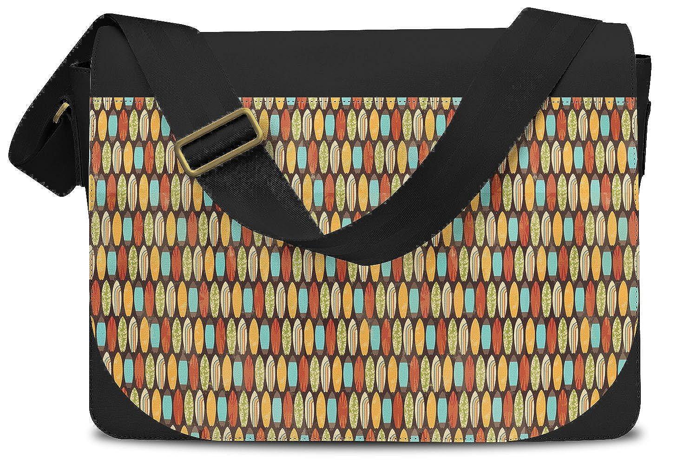 Surf Boards Retro Style Messenger Bag Cross Body Laptop School Work Bag