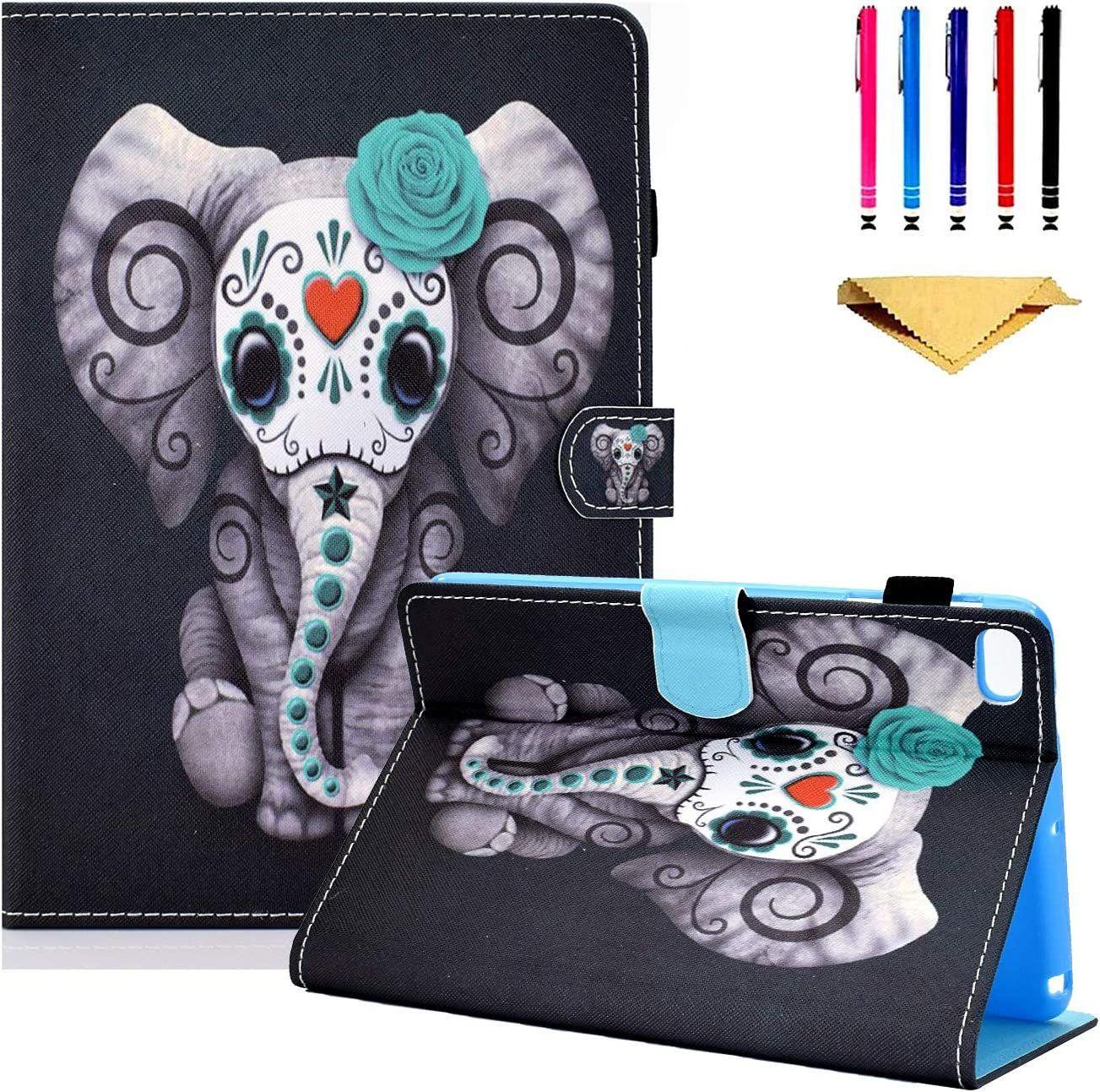 iPad 9.7 inch 2018 2017 Case, iPad Air Case, iPad Air 2 Case, Funut Leather Folio Smart Cover with Auto Wake/Sleep Stand Wallet Case with Kickstand for Apple Ipad 6th/5th Generation Cases,Elephant