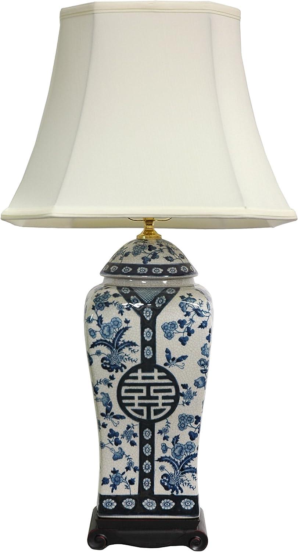 "Oriental Furniture 26"" Floral Blue & White Vase Lamp"