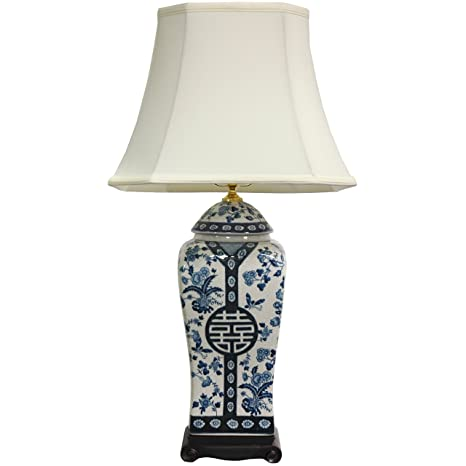 Amazon.com: oriental furniture 26 inch azul y blanco Jarrón ...