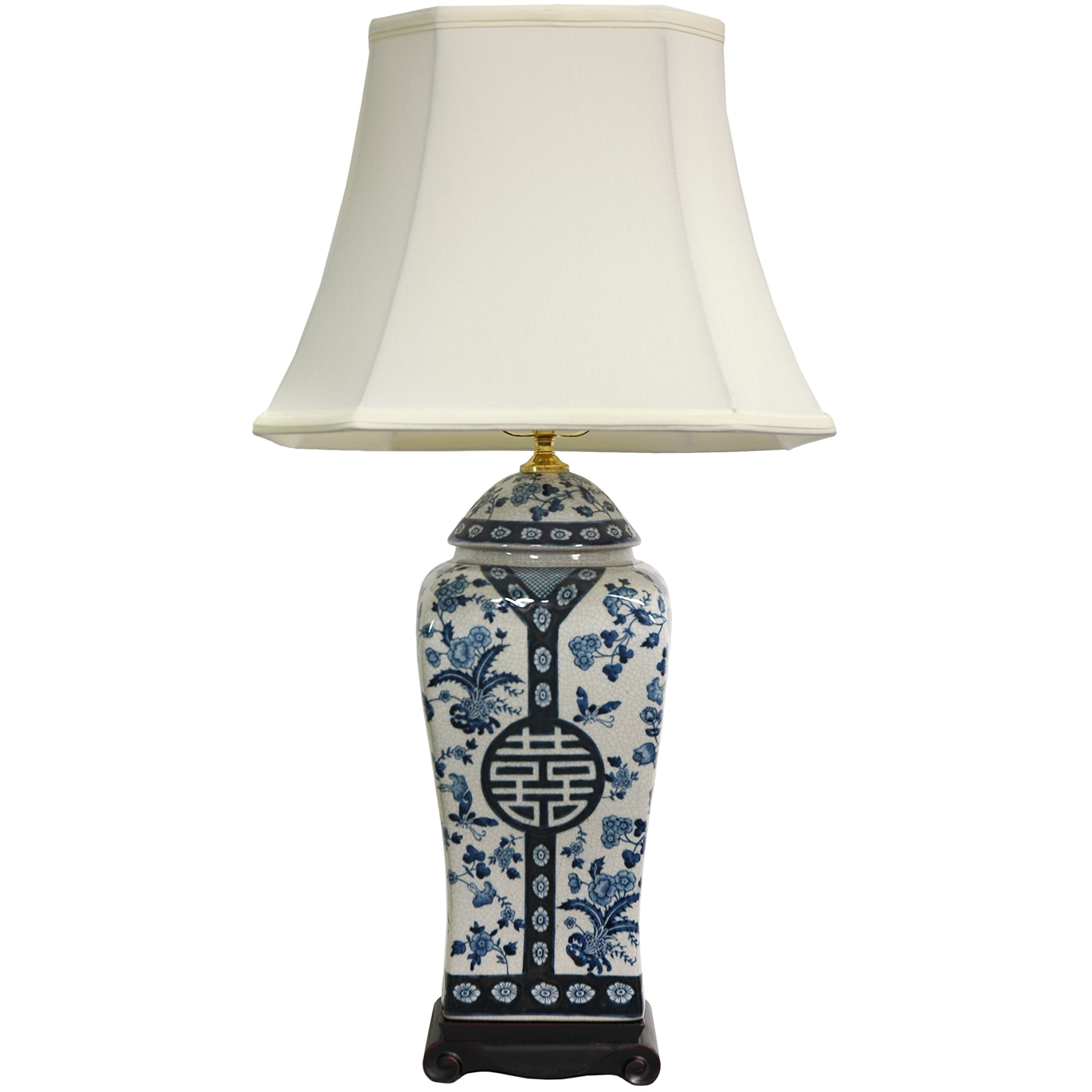 ORIENTAL FURNITURE 26'' Floral Blue & White Vase Lamp by ORIENTAL FURNITURE